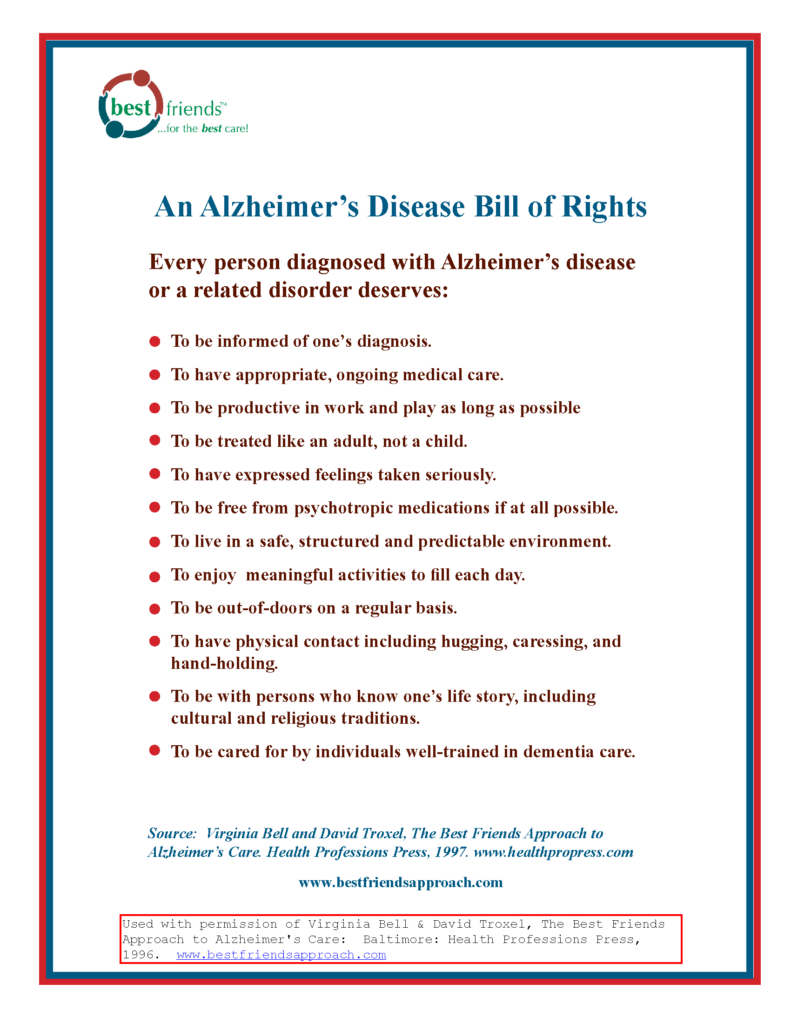 Alzheimer's Bill of Rights Sarasota Senior Home Care in Florida